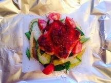 Dinner tonight, harissa salmon cooked en papilliotte